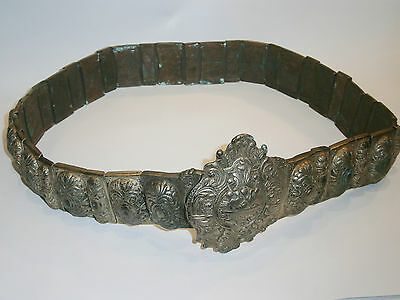 ANTIQUE OLD UNIQUE FOLKLORE BIJOU JEWEL SILVER heavy BELT CLASP BUCKLE 19'c