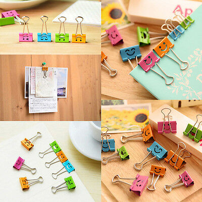 10pcs 19mm Smile Metal Assorted Color File Paper Binder Clips Office Suppliers