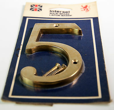 Vtg NOS Intersel Solid Brass Laiton Massif #5 House number