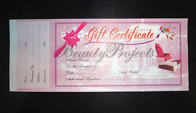 50 Sheets Professional Nail Beauty Salon Gift Certificates 1 Booklet NEW - Pink
