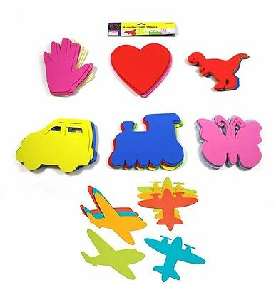 Pack of 8 Large Foam Shapes - Butterfly / Car / Dinosaur / Hand / Plane / Train