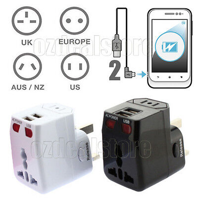 Universal World Travel Adapter Dual 2 USB Plug Charger Power Converter Adaptor