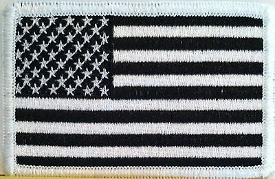 American Flag 3 X 2 Patch With VELCRO® Brand Fastener  Black White United States