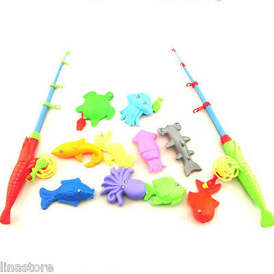 12Pcs Kids Fishing Toy Rod Fish Model Kid Children Baby Bath Time Fun Party Game