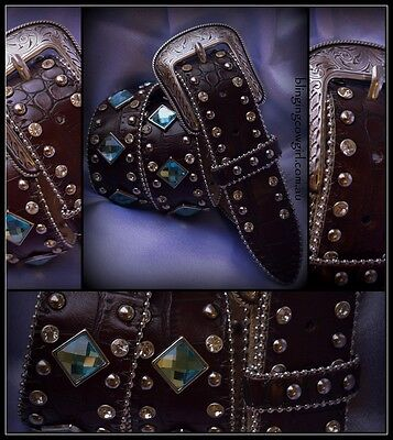 Girls Western Bling Cowgirl Belt - Teal/Blue Concho - Brown Croc Skin - XS Size