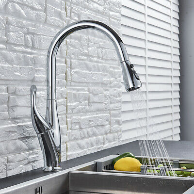 Modern LED Chrome Brass Kitchen Faucet Pull Down Spout Single Handle Mixer Tap