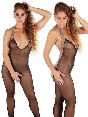 Sexy Damen Bodystocking Lingerie Catsuit Body Bodysuit OneSize, 1078