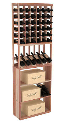Wooden High Reveal Case Bin Combo Wine Cellar Rack Kit in Redwood. USA Made.