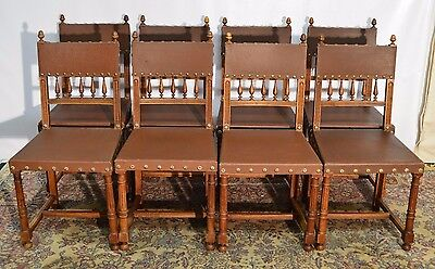 8 Antique French Walnut Dining Chairs