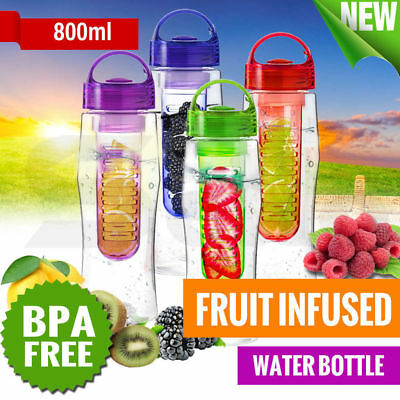 800ML Fruit Infuser Water Bottle BPA Free Sport Outdoor Juice Infusing Infusion
