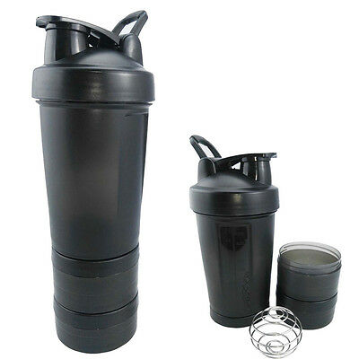 New Protein Shaker Bottle Cup Three layers of Blender Mixer BLACK BOTTLE 17oz