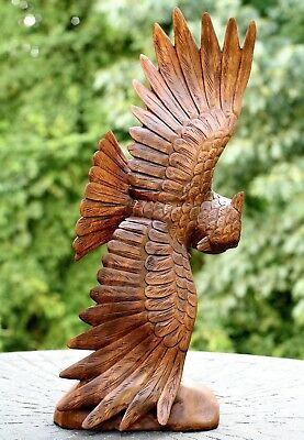 """20"""" Large New Hand Carved Soaring Wooden Owl Statue Sculpture Figurine Art Decor"""