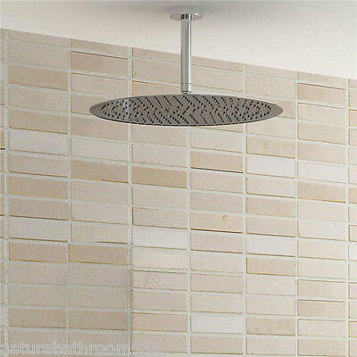 """WELS 12"""" / 16"""" ROUND Over Shower Head & Ceiling Dropper Arm 30/45/60cm CHROME"""
