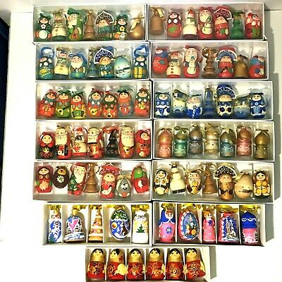 NEW Russian Hand Painted Nesting Doll Christmas Tree Ornaments 6 Piece Set