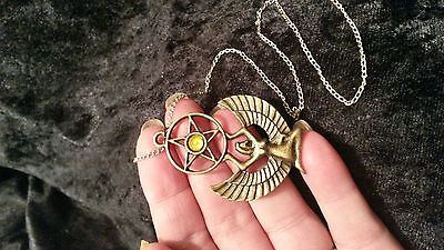 """Egyptian Goddess Isis & Pentagram & 18"""" Silver Coloured Chain. Pagan Wicca Witch"""