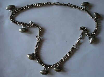 Victorian 3 Watch Chain Silver Necklace Football Charms Charm