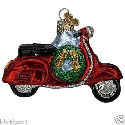 *Motor Scooter* Vespa Moped (46039) Old World Christmas Glass Ornament - NEW