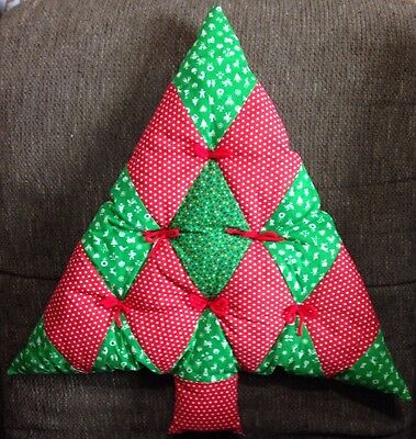 Quilted Handmade Puffy Fabric Vintage Christmas Tree Decoration Pillow