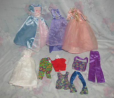 Barbie Clothes Lot - Fancy Princess Dresses, Purple Pants, Floral Capris, etc.