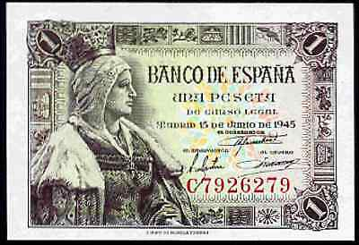 Spain. One Peseta. C7926279. 15-6-1945. Almost Uncirculated-Uncirculated.
