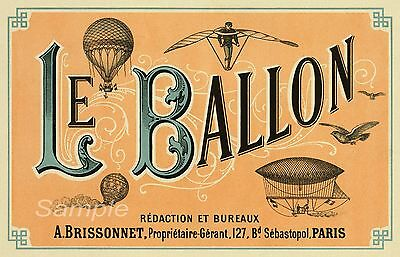 VINTAGE FRENCH CIRCUS BALLOON ADVERTISING A2 POSTER PRINT