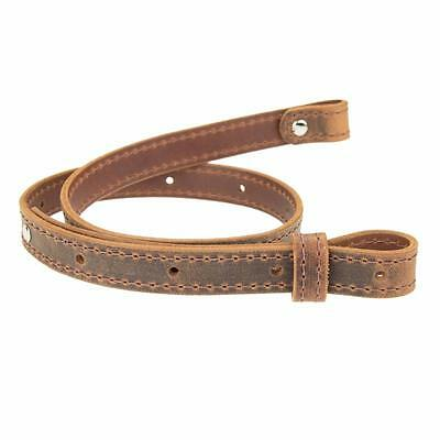 """Buffalo Hide Leather Rifle Gun Sling_Crazy Horse/Brown_Amish Handmade_1"""" Wide"""