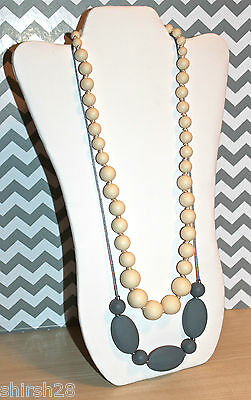 2 Necklaces Baby Teether Teething Nursing Silicone Bead Jewelry Beige Ivory Gray