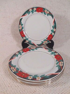 "Set of 2 - 1994 Tienshan Fine China - Deck the Halls - 7 1/2"" Salad Plate"