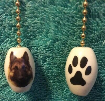 One Belgian Sheepdog Dog Fan Pull With Paw Print On The Back 1""