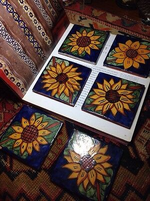 Six Hand painted terracotta Mexican Tiles Talavera Sunflowers Vintage