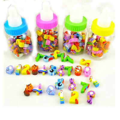 26x Mini Cute Cartoon Number Rubber Pencil Eraser Children Stationery Gift Toy