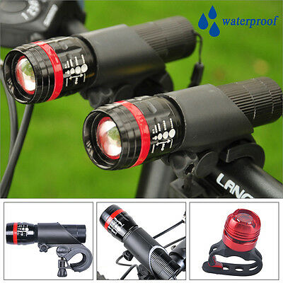 2x CREE Q5 LED Mountain Bike Bicycle Cycle Head Front Lights + LED Rear Tail SET