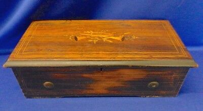 Antique 19th Century Lever Wind Wood Swiss Music Box with Inlayed Marketry