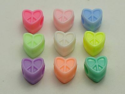 200 Mixed Pastel Color Acrylic Cute Love Heart Pony Beads for Kids Kandi Craft