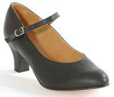 NEW Leather Character Dance Shoes Black Low Heel Clearance