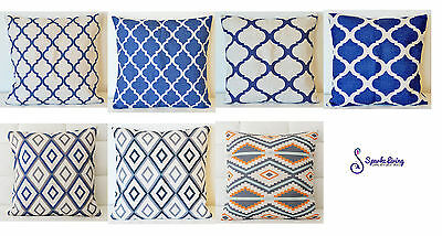Blue Home Decor Vintage Cotton Linen Cushion Cover Pillow Case 45x45cm