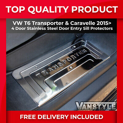 New Vw T6 15+ Transporter 4 Door Entry Set Guard Sill Protector Cover S.steel