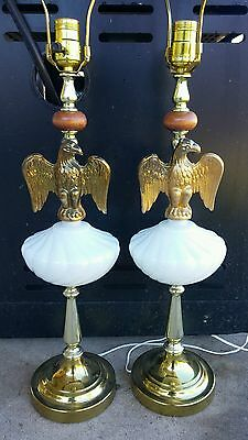 PAIR of Vintage Brass Eagle and Milk White Glass  Wood Table Lamp Lamps
