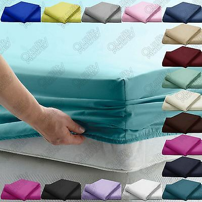 PLAIN FITTED BED SHEETS EGYPTIAN COTTON POLYESTER Mattress COVER ROOM BEDDINGS