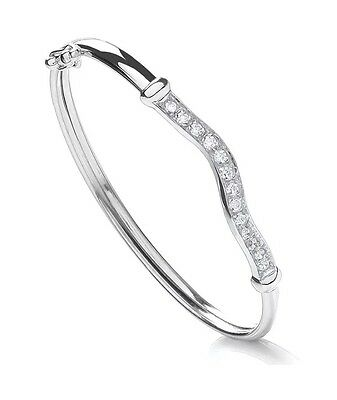 """925 Sterling Silver Baby Bangles With Cubic Zirconia Christening CZ 5.5"""""""