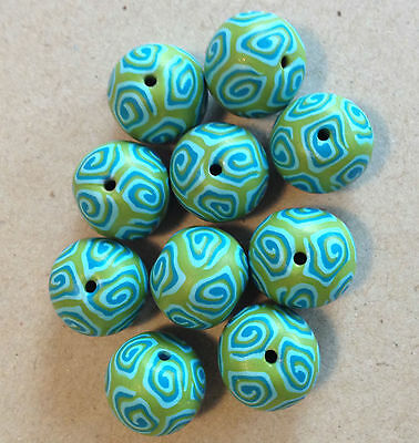 Bindu Round 14mm Turquoise/Lime Green Polymer Clay Bead - Handcrafted, Nepalese