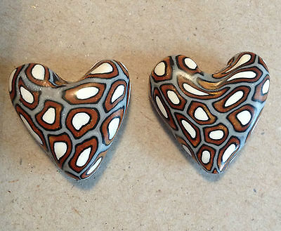 Heart 18mm Bullseye Silver/Gold Polymer Clay Bead - Handcrafted, Nepalese, Craft