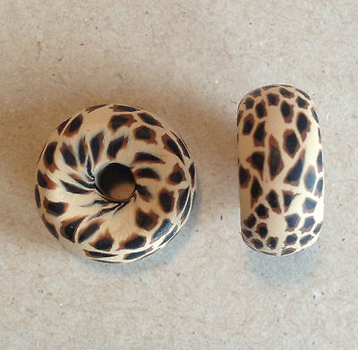 Rondelle 18/20mm Chitawah Desert Tan Polymer Clay Bead - Handcrafted, Nepalese