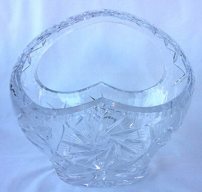 Antique/Vintage Huge European Heavily Cut Glass Basket, Excellent