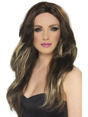 Brown/Blonde Long Wavy Temptress Wig Adult Womens Smiffys Fancy Dress Costume