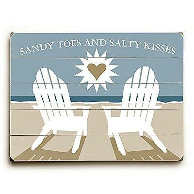 """Sandy Toes And Salty Kisses by Artist Michael Dexter 14"""" x 20"""" Planked Wood Sign"""