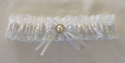 Wedding Garter  -  White/diamante Pearl - Small, Medium Or Large