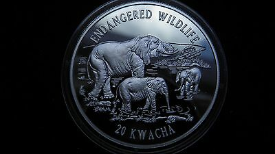 1996 Malawi 20 Kwacha Elephants Silver Proof Coin