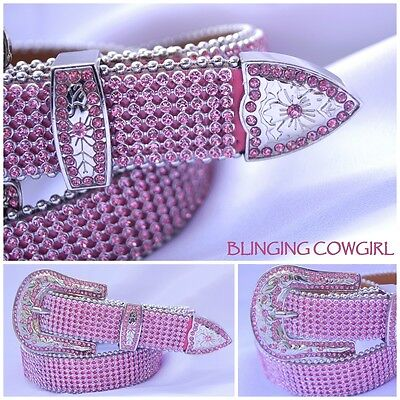 "Girls Pink Mesh Leather Bling Cowgirl Belt - Silver Buckle - Pink - Sz 28""& 32"""