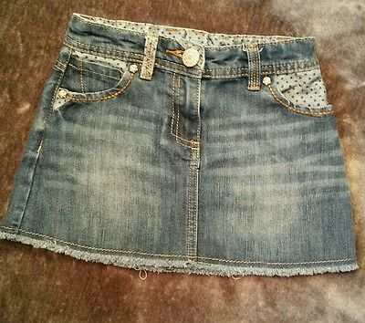 Kids girls Next denim skirt age 4 spotty frayed edge